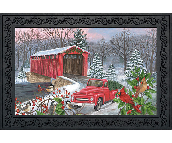 Winter Covered Bridge Doormat