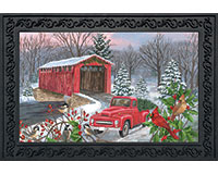 Winter Covered Bridge Doormat-BLD00520