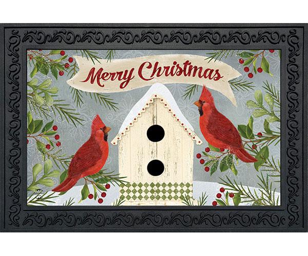 Christmas Cardinal Bird House Doormat