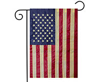 Tea Stained Embroidered American Flag Garden Flag-BLG00019