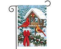 Cardinals Christmas Feast Garden Flag-BLG00201