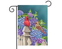 Cardinals and Hydrangeas Garden Flag-BLG00453