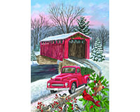 Winter Covered Bridge Garden Flag-BLG00520