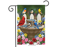 Bird Bath Gathering Garden Flag-BLG00591