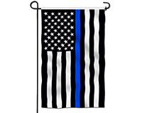 Thin Blue Line Embroidered Garden Flag-BLG00670
