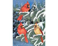 Winter Cardinal Trio Garden Flag-BLG00705