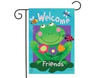 Welcome Friends Frog Garden Flag-BLG00815