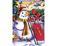 Snowman and Sled Garden Flag-BLG00915