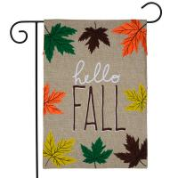 Hello Fall Leaves Burlap Garden Flag-BLG00984