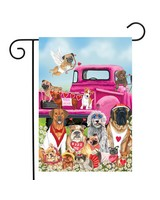 Happy Valentines Dogs Garden Flag-BLG01188