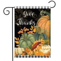 Checkered Give Thanks Garden Flag-BLG01618