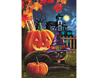 Black Cat Halloween House Flag-BLH01164