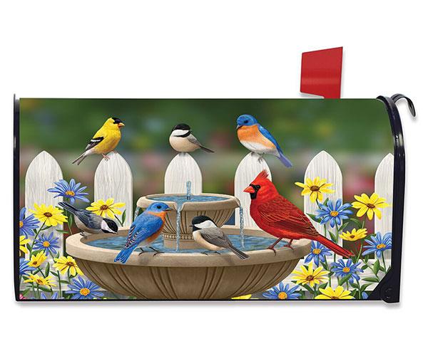 Bird Bath Gathering Mailbox Cover