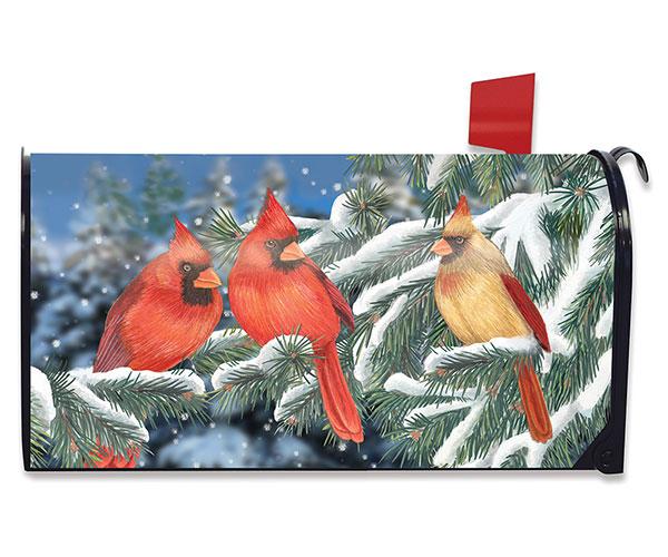 Winter Cardinal Trio Mailbox C