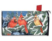 Winter Cardinal Trio Mailbox C-BLM00705