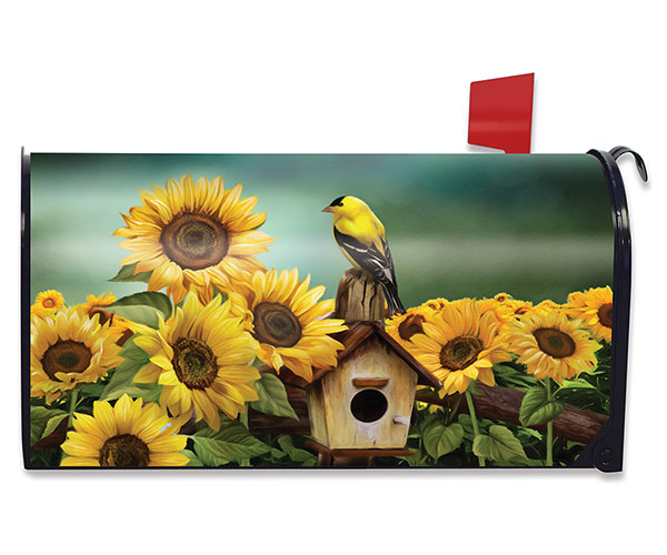 Goldfinch & Sunflowers Mailbox Cover