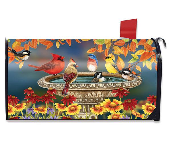 Fall Bird Bath Mailbox Cover