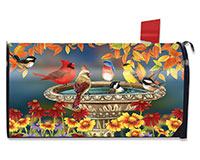 Fall Bird Bath Mailbox Cover-BLM00933