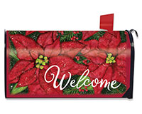 Holiday Poinsettia Mailbox Cover-BLM00957