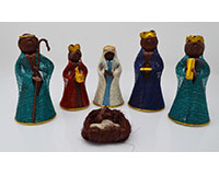 Nativity Colored Abaca 4 inch Set of 6 ANGEL02034