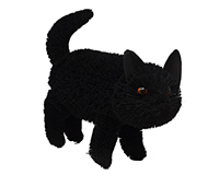 16 inch Brushart Black Cat Standing-BRUSH01881