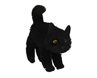 16 inch Brushart Black Cat Standing-BRUSH01882