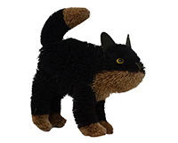 16 inch Brushart Black Cat Standing BRUSH0189L