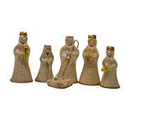 4 inch Nativity Set-Gold Trim-BRUSH02024