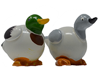 Set of 2 White Mallard Duck Marble Figurines-MARBLE0229W