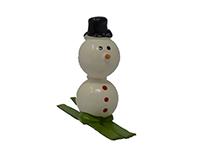 Snowman on Skis Marble Figurine-MARBLE0313SK
