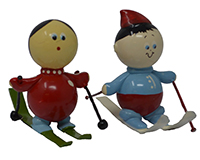 Set of 2 Snow Skier Marble Figurines-MARBLE0319