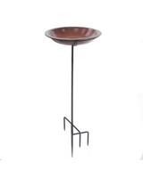 Circle Bird Bath Staked Rustic Red-BYERSBP776
