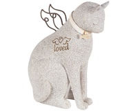 Cat Sitting Statuary Faithful Angel-CHA14212