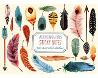 Arrows & Feathers Sticky Note Set-CB9780735341593