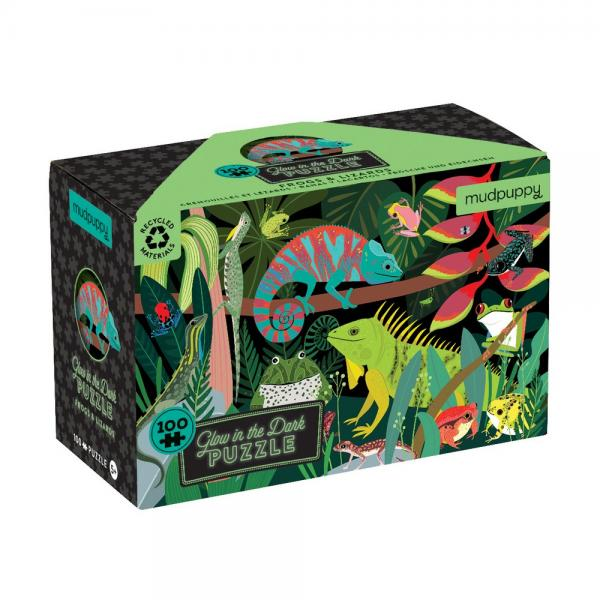 Frogs & Lizards Glow in the Dark Puzzle 100 pcs