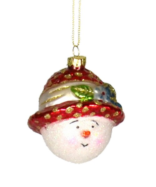 Straw Hat Snowgirl Red Ornament (COBANEA060)