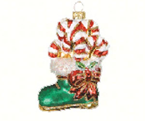 Candy Cane Boot Ornament (COBANEA335)