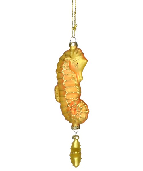 Twinkle Seahorse Gold and Orange Ornament (COBANEC102)