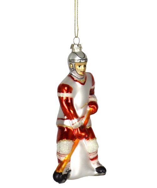 Hockey Player Red White Ornament (COBANEC127)