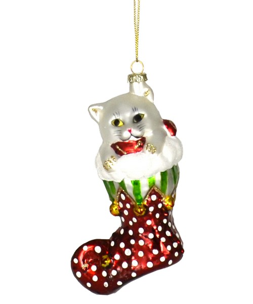 Jingle Bell Kitty White with Red Stocking Ornament (COBANEC215)
