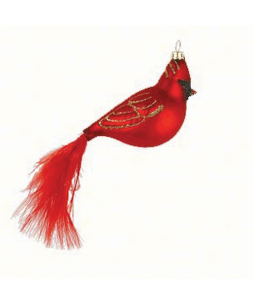 Cardinal with Feather Tail Ornament (COBANEC304)