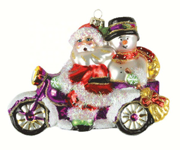 Santa & Frosty Motorcycle Ornament (COBANED352)