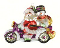 Santa & Frosty Motorcycle Ornament COBANED352