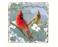 Cardinals Number 3 Single Tumbled Tile Coaster-CART11184