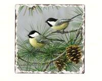 Chickadees Number 2 Single Tumbled Tile Coaster-CART11186