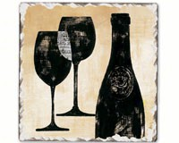 Wine Shadows Single Tumbled Tile Coaster-CART11783