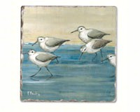 Sandpipers on the Beach Single Tumbled Tile Coaster-CART11914
