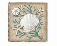 Linen Shells Single Tumble Tile Coaster-CART11920