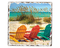 Beach Chairs Single Tumble Tile Coaster-CART67430