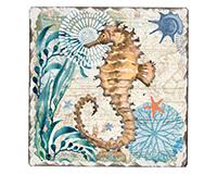 Monterey Bay Single Tumbled Tile Coaster-CART67468